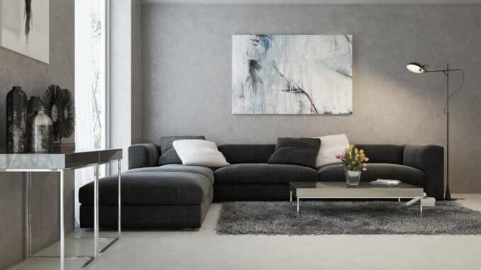 Wohnzimmer mit Tischen aus Beton